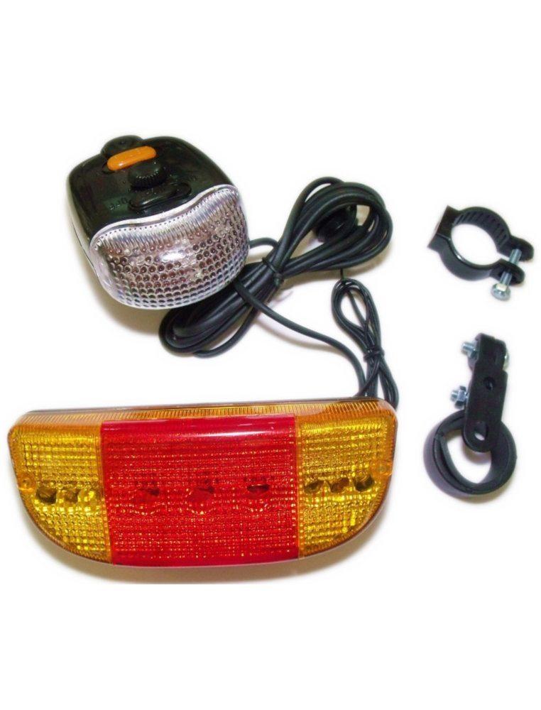 Фонарь задний XC-406, пластик, с поворотниками, широкий, 9 диодов, 8 мелодий